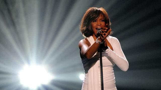 Whitney Houston performing in 2009. (Photo by Kevork Djansezian/Getty Images)