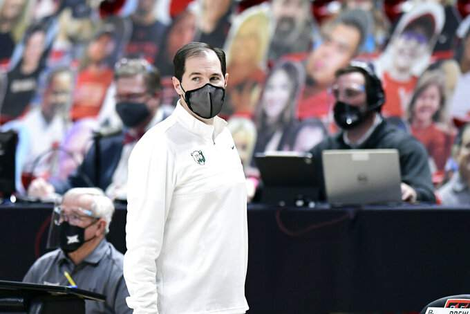 Baylor head coach Scott Drew watches from the sideline during the first half of an NCAA college basketball game against Texas Tech in Lubbock, Texas, Saturday, Jan. 16, 2021.