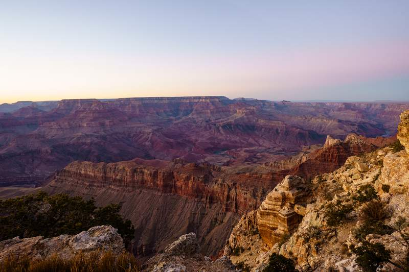 FILE- A sunset at Lipan Point at the south rim of the Grand Canyon on January 09, 2021, in Grand Canyon Village, Arizona. Charles Lyon of Tyler, Texas, is missing in the Grand Canyon National Park and his vehicle was located near Lipan Point. (Photo by Josh Brasted/Getty Images)