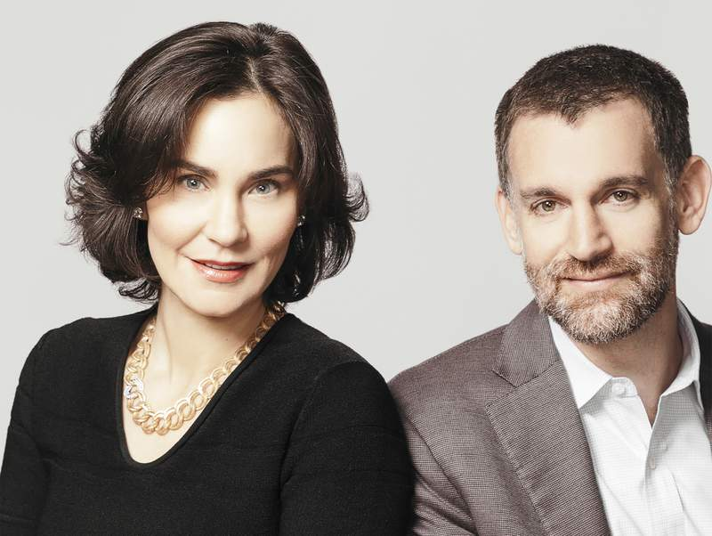 """This undated photo provided by Arnold Ventures shows Laura and John Arnold. The billionaire philanthropists committed Monday, April 5, 2021, to donate 5% of their wealth annually as part of an effort to encourage increased, timelier donations to charities. The Arnolds are the first billionaires to sign on to the advocacy organization Global Citizen's """"Give While You Live"""" campaign, which calls on the world's billionaires to give at least 5% of their wealth every year to a cause. (Arnold Ventures via AP)"""