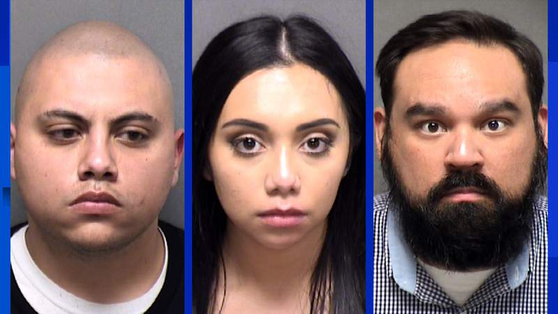Derek Medina (left), Kaley Medina (middle) and Daniel Serna (right) have been charged with aggravated assault following a shooting at the Monte Carlo Club on Sunday, June 14, 2020.