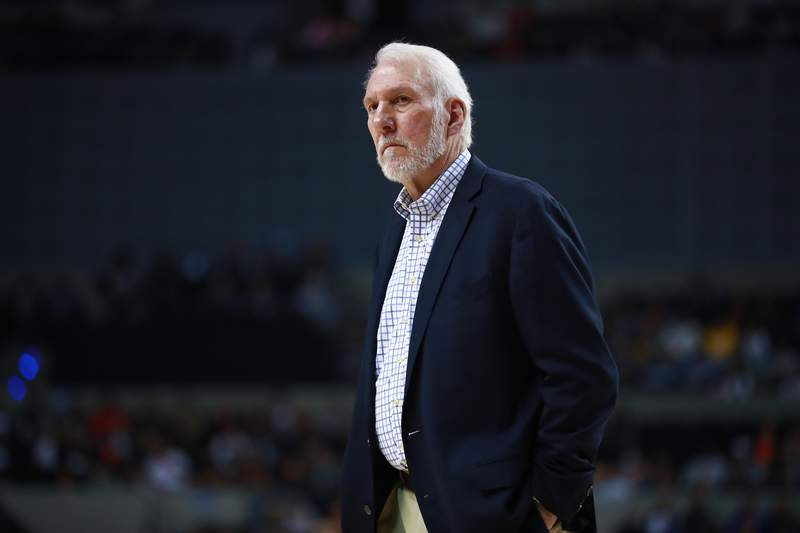 MEXICO CITY, MEXICO - DECEMBER 14: Gregg Popovich looks on during a game between the Spurs and Suns at Arena Ciudad de Mexico on December 14, 2019 in Mexico City, Mexico. (Photo by Hector Vivas/Getty Images)