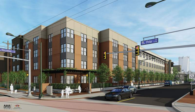 The Cattleman Square Lofts at West Houston and Frio streets are expected to open in the first quarter of 2021. Image: Alamo Community Group