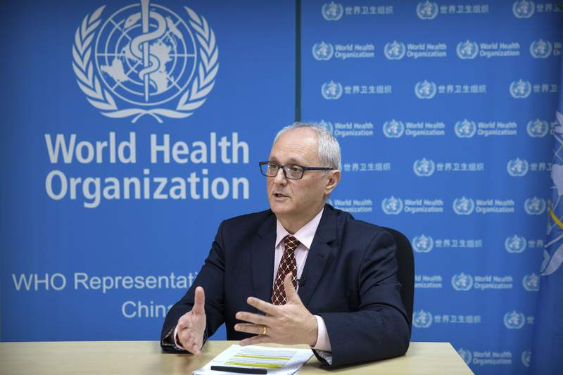 FILE - In this Jan. 23, 2020, file photo, Dr. Gauden Galea, the World Health Organization (WHO) representative in China, speaks during an interview with The Associated Press at the WHO's offices in Beijing. A pair of World Health Organization experts will visit China over the weekend to lay the groundwork for a larger mission to investigate the origins of the COVID-19 pandemic. (AP Photo/Mark Schiefelbein, File)