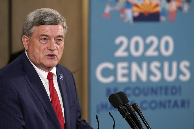 U.S. Census Director Steven Dillingham speaks as he joins Arizona Gov. Doug Ducey as they hold a news conference to urge Arizonans to participate in the nation's once-a-decade census population count Thursday, Sept. 17, 2020, in Phoenix. Ending the 2020 census at the end of September instead of the end of October, could cost Florida and Montana congressional seats and result in Texas, Florida, Arizona, Georgia, and North Carolina losing $500 million in federal funding for healthcare for its neediest residents. (AP Photo/Ross D. Franklin, Pool)