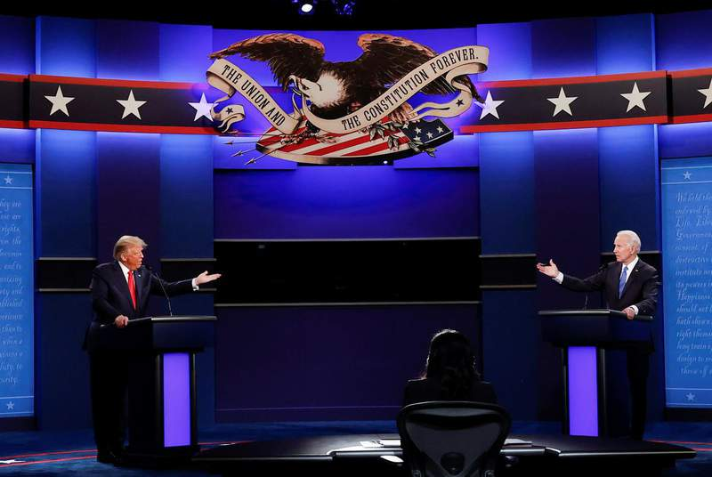 In their final debate before the Nov. 3 election, President Donald Trump and Democratic presidential nominee Joe Biden squared off over the oil and gas industry and global warming. (Credit: REUTERS/Mike Segar)