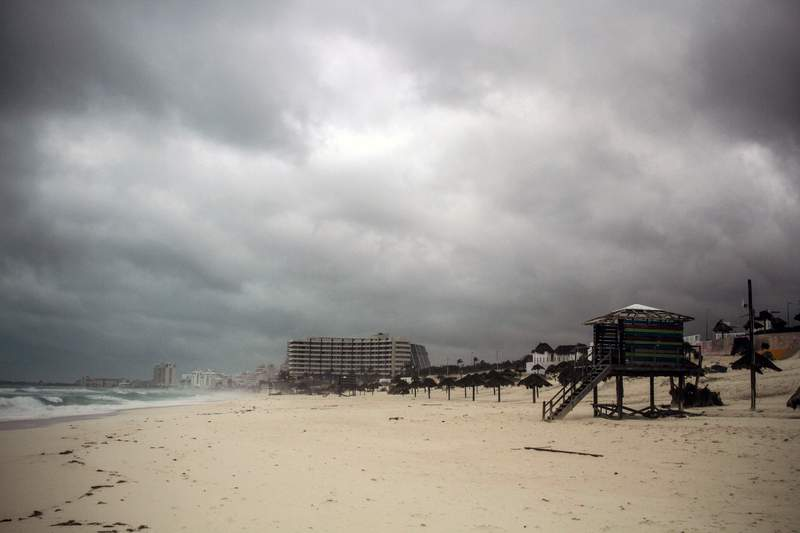 Cloudy weather and sandstorms are seen after Hurricane Delta reached the Mexican east coast, between Cancun and Playa del Carmen, forcing evacuations in tourist areas on Wednesday. It is expected to hit the coast of Louisiana on Friday. (Photo by Medios y Media/Getty Images)
