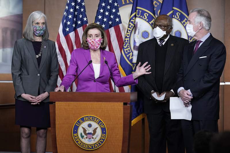 Speaker of the House Nancy Pelosi, D-Calif., holds a news conference ahead of the vote on the Democrat's $1.9 trillion COVID-19 relief bill, at the Capitol in Washington, Tuesday, March 9, 2021, as Rep. Katherine Clark, D-Mass., Majority Whip James Clyburn, D-S.C. and Budget Ways and Means Committee Chairman Richard Neal, D-Mass., look on. (AP Photo/J. Scott Applewhite)