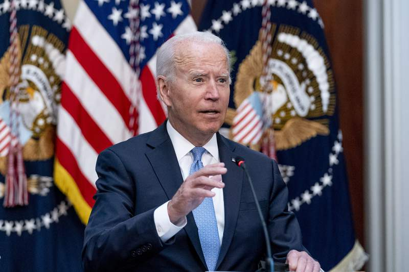 President Joe Biden speaks during a meeting with business leaders and CEOs on the COVID-19 response in the library of the Eisenhower Executive Office Building on the White House campus in Washington, Wednesday, Sept. 15, 2021. (AP Photo/Andrew Harnik)