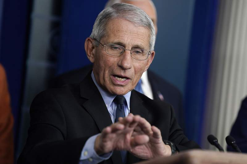 Dr. Anthony Fauci, director of the National Institute of Allergy and Infectious Diseases, speak during a press briefing with the coronavirus task force, at the White House, Tuesday, March 17, 2020, in Washington. (AP Photo/Evan Vucci)
