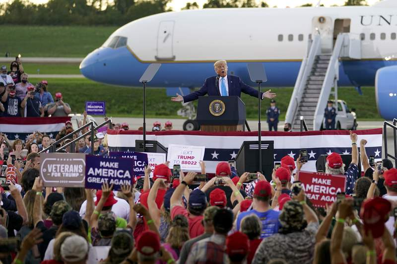 President Donald Trump addresses the crowd at a campaign event at the Arnold Palmer Regional Airport, Thursday, Sept. 3, 2020, in Latrobe, Pa. (AP Photo/Keith Srakocic)