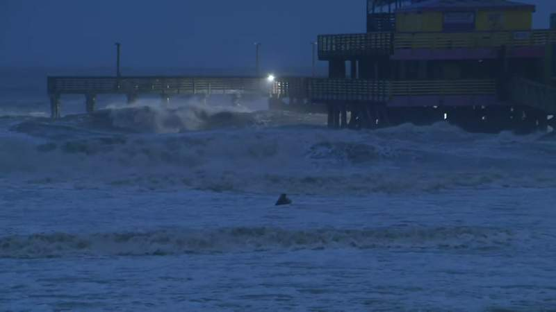 High waves are seen off the coast of Galveston, Texas, during Tropical Storm Beta on Sept. 21, 2020.