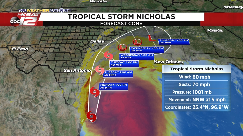 The latest stats and forecast cone for Tropical Storm Nicholas