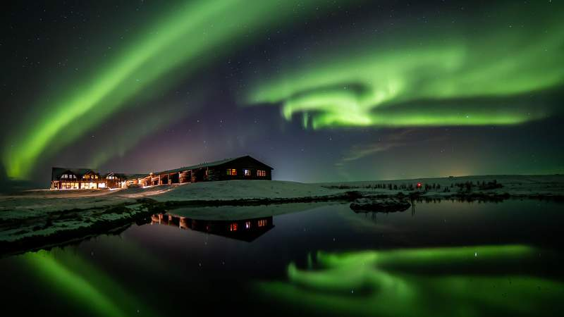 Northern lights above Hotel Ranga in Hella, Iceland.