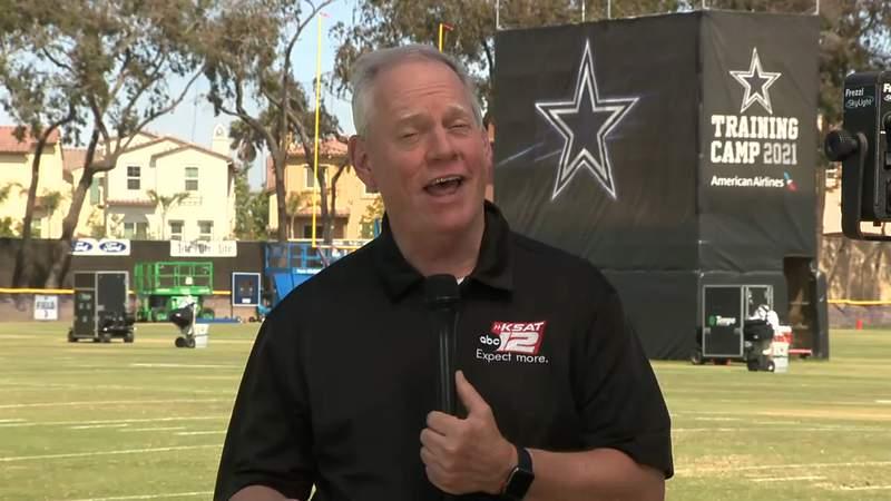KSAT 12's Greg Simmons at Cowboys training camp in Oxnard, California.