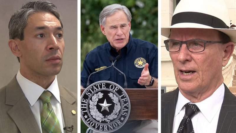 from left: San Antonio Mayor Ron Nirenberg, Texas Gov. Greg Abbott, Bexar County Judge Nelson Wolff.