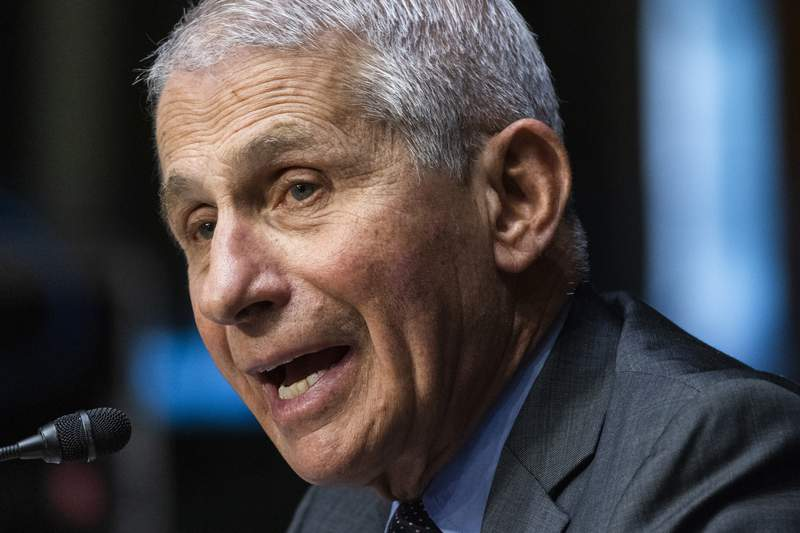 Dr. Anthony Fauci, director of the National Institute of Allergy and Infectious Diseases, speaks during a Senate Health, Education, Labor, and Pensions hearing to examine an update from Federal officials on efforts to combat COVID-19, Tuesday, May 11, 2021 on Capitol Hill in Washington. (Jim Lo Scalzo/Pool via AP)