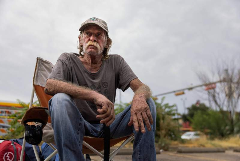Billy Smith, 61, lived at the homeless encampment under I-35 near APD headquarters for a year until it was cleared on September 29, 2021.
