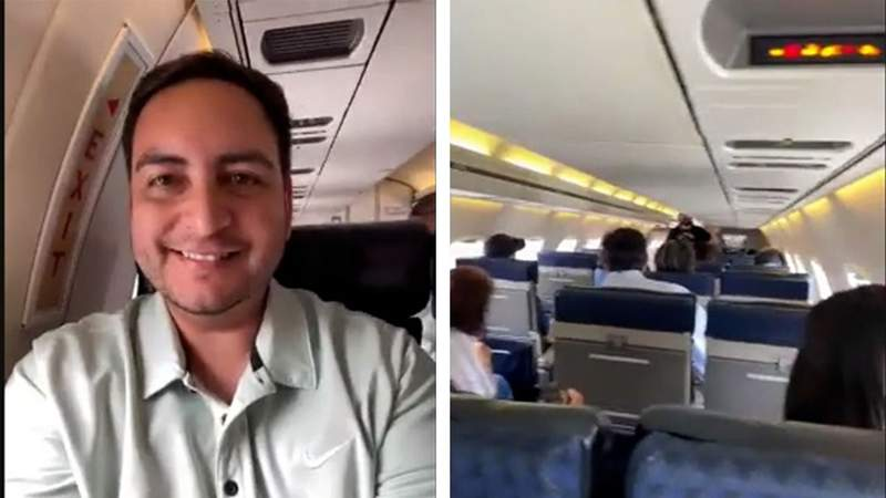 State Rep. Philip Cortez, D-San Antonio, aboard a plane bound for Washington, D.c., on July 12, 2021. More than 50 Texas Democrats fled the state Capitol for a quorum break to prevent Republicans from passing a contentious voting rights bill.