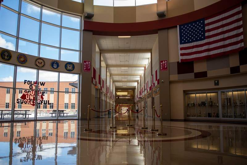 The empty entryway of Judson High School on Aug. 11, 2020, in Converse.