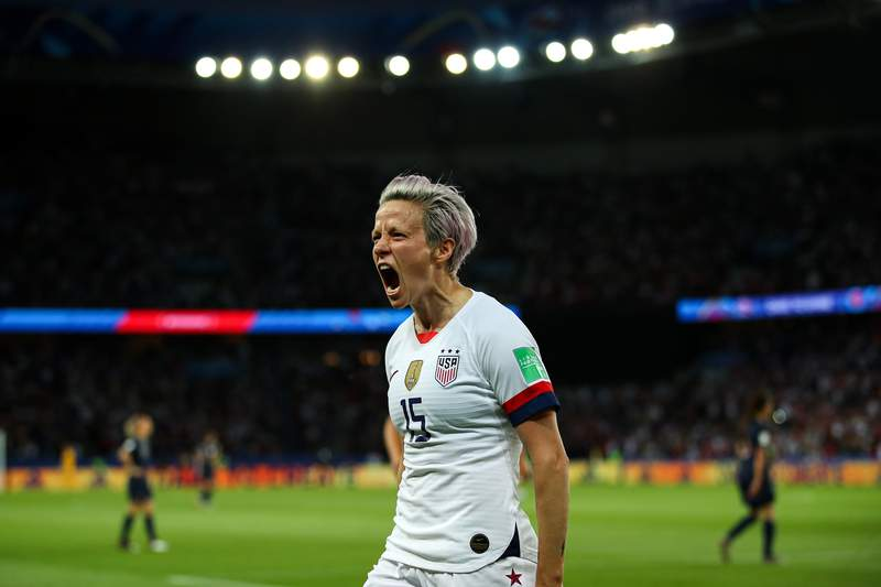 Megan Rapinoe of the USA celebrates after scoring her team's second goal during the 2019 FIFA Women's World Cup France Quarter Final match between France and USA at Parc des Princes on June 28, 2019 in Paris, France. (Photo by Richard Heathcote/Getty Images)