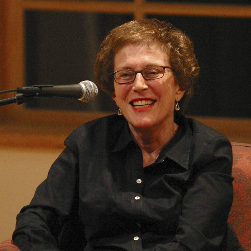 In this 2003 photo provided by Patricia Williams is Joan Micklin Silver as she is being interviewed by Kenneth Turan at the National Yiddish Book Center in Amherst, Mass. Silver, who forged a path for female directors in both independent and Hollywood films with movies including Hester Street and Crossing Delancey, has died at age 85. Silver died from vascular dementia on Thursday, Dec. 31, 2020, at her home in New York, her daughter Claudia Silver told The Associated Press. (Patricia Williams via AP)