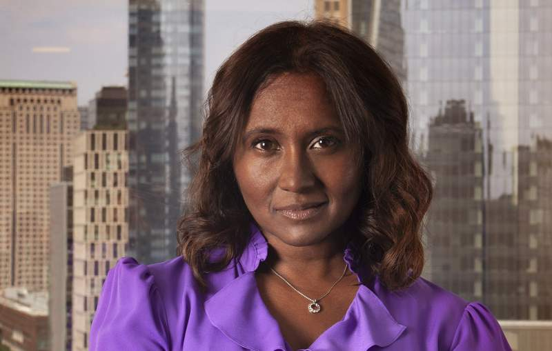 Daisy Veerasingham, executive vice president and chief operating officer of The Associated Press, poses for a photo on July 27, 2021, at the AP headquarters in New York. The AP announced Tuesday, Aug. 3, that Veerasingham has been named as its new president and CEO, effective Jan. 1, 2022. (AP Photo)