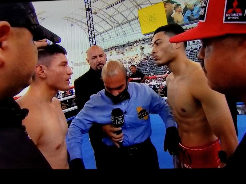 Hector Tanajara Jr. meets face-to-face with William Zepeda at the Banc of California Stadium in Los Angeles, California.