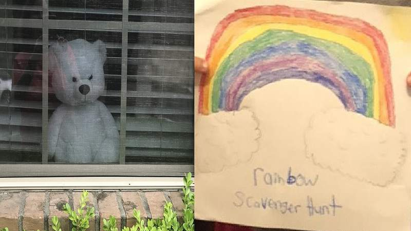 Some neighborhoods are facilitating scavenger hunts for kids by placing teddy bears and rainbows in windows during a time of social distancing.