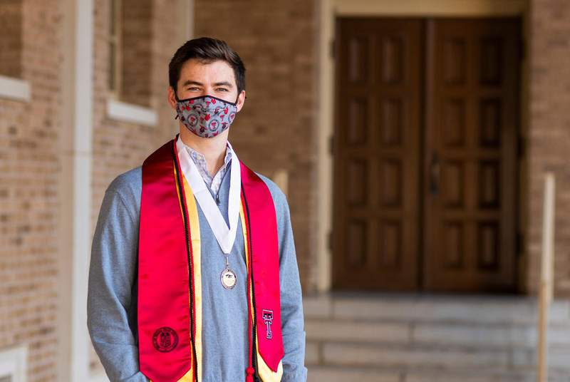 Texas Tech University senior Klay Davis is thrilled he'll have the chance to graduate college in-person this December. But faculty across the state are concerned large in-person commencements at multiple schools could become super spreader events for COVID-19.                    Credit: Justin Rex for The Texas Tribune