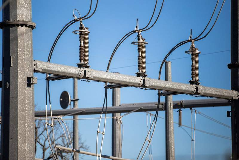 Electrical transformers at the Austin Energy/Sand Hill Energy Center in Del Valle on March 24, 2020.