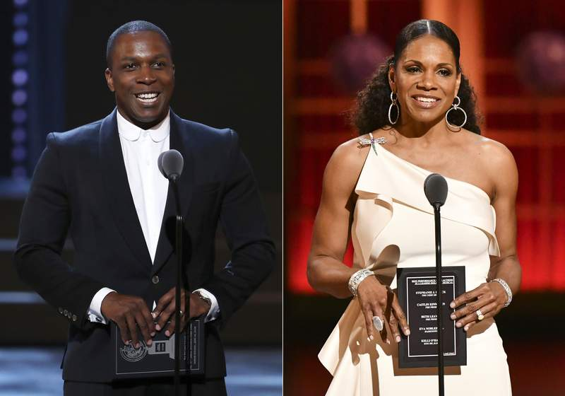 Leslie Odom Jr. presents an award at the 72nd annual Tony Awards in New York on June 10, 2018, left, and Audra McDonald presents an award at the 73rd annual Tony Awards in New York on June 9, 2019. Producers of the Tony Awards telecast announced Monday that McDonald will host the award ceremony on Sept. 26, followed by a two-hour celebration of Broadway's return, hosted by Odom. The bulk of the Tonys will only be accessible to Paramount+ customers while Odom's special, which will award the three top awards: best play, best play revival and best musical, will air on CBS. (AP Photo)