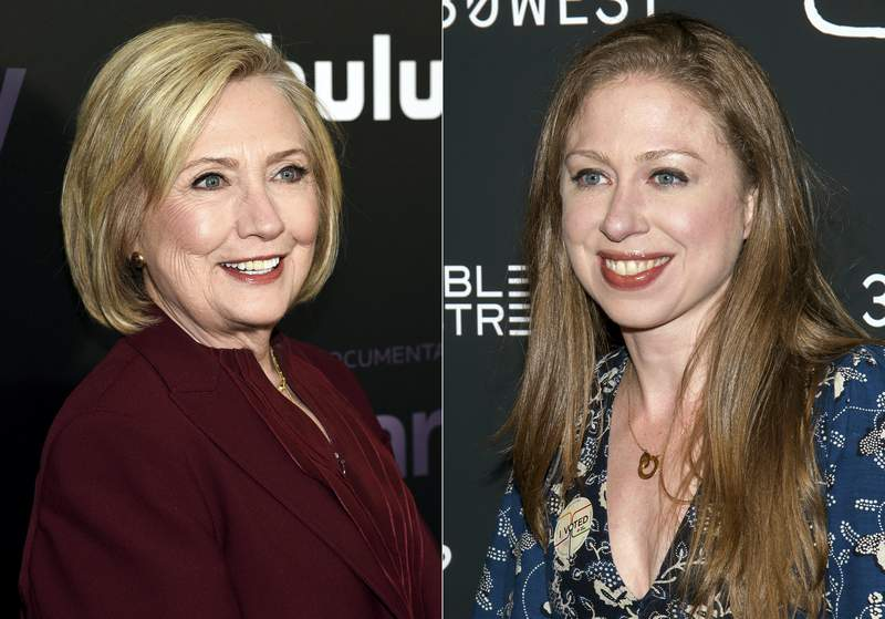 """Former secretary of state Hillary Clinton attends the premiere of the Hulu documentary """"Hillary"""" in New York o March 4, 2020, left, and  Chelsea Clinton attends a screening of """"Colette"""" in New York on Sept. 13, 2018. The Clintons are forming HiddenLight Productions, a company they say will tell the stories of people whose voices are often overlooked. Apple TV announced Thursday that it plans to air HiddenLight's first project, a documentary series called Gutsy Women, to be narrated by the Clintons. (Photos by Evan Agostini, left, and Charles Sykes/Invision/AP)"""