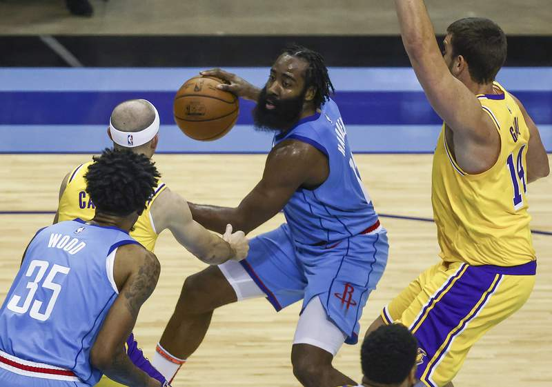 Houston Rockets guard James Harden dribbles against the Los Angeles Lakers during the third quarter of an NBA basketball game Tuesday, Jan. 21, 2021, in Houston. (Troy Taormina/Pool Photo via AP)
