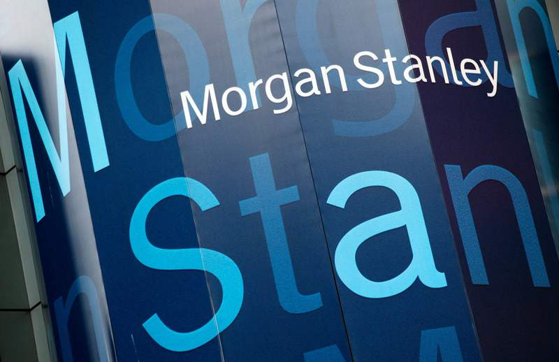 FILE - In this Tuesday, Oct. 18, 2011, file photo, the Morgan Stanley logo is displayed on its Times Square building, in New York. Morgan Stanley reports financial results Thursday, Jan. 16, 2020. (AP Photo/Mark Lennihan, File)