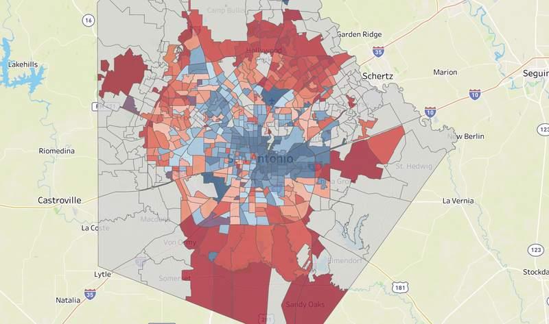 Proposition B votes by precinct in the May 1, 2021, San Antonio election.