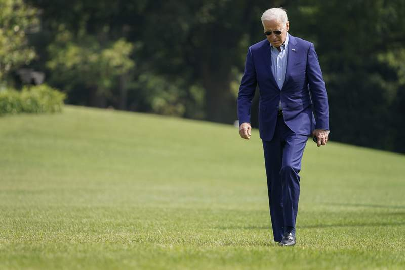 President Joe Biden walks connected  the South Lawn of the White House aft  stepping disconnected  Marine One, Sunday, July 25, 2021, successful  Washington. Biden is returning to Washington aft  spending the play   successful  Delaware. (AP Photo/Pablo Martinez Monsivais)