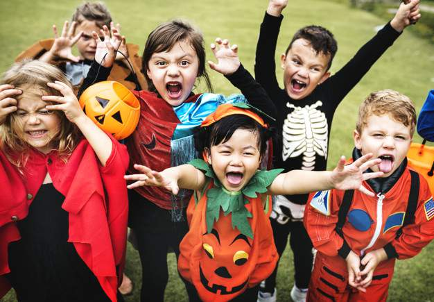 A file image of kids in Halloween costumes before the pandemic.