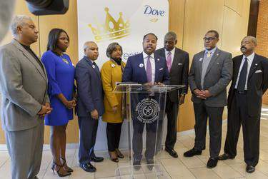 Members of the Texas Legislative Black Caucus at a press conference in Houston on Feb. 6, 2020. (Credit: Michael Stravato for The Texas Tribune)