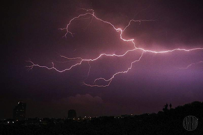 Lightning over the night sky near the Medical Center in San Antonio on May 10, 2021.