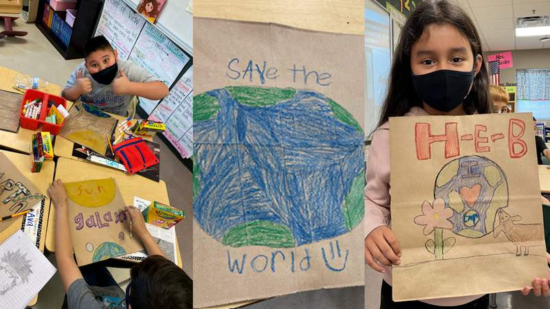 Aiden, a 4th Grade student in Ms. Medcalf's class at Jackson Keller Elementary School along with Dylah, a 3rd Grader in Mrs. Gonzalez class show off their H-E-B bags for Earth Day.