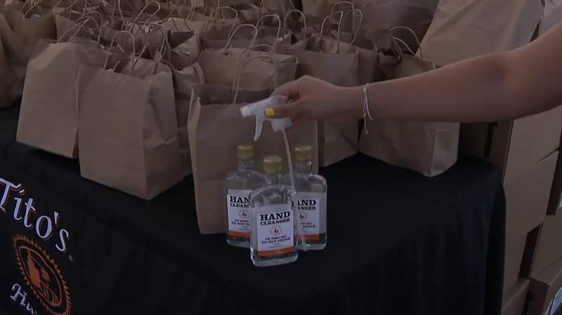 Tito's Vodka is giving out 20,000 bottles of hand sanitizer on Thursday, July 23, 2020, at the AT&T Center.