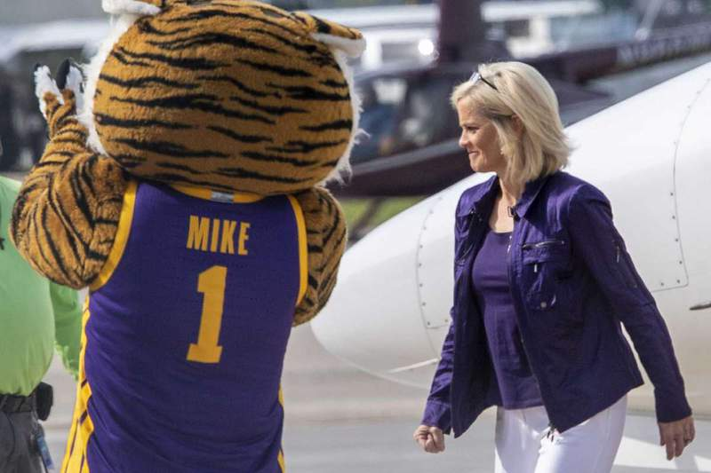 Former Baylor women's basketball coach Kim Mulkey arrives at Metro Airport to become LSU's women's basketball coach Monday, April 26, 2021 in Baton Rouge, La.