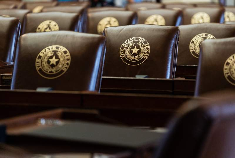 Chairs in the House Chamber at the Texas Capitol on June 21, 2021.