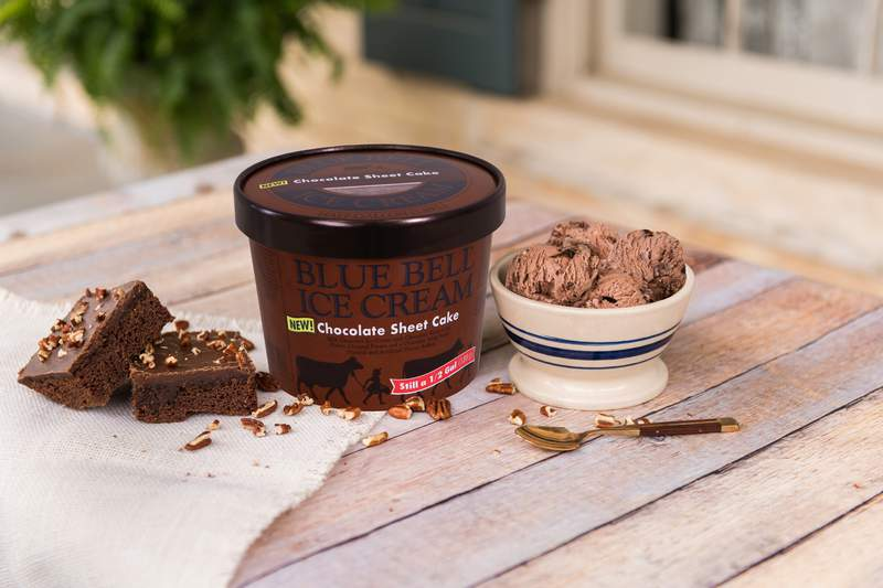 Blue Bell is releasing its Chocolate Sheet Cake Ice Cream on Thursday. Image: Blue Bell
