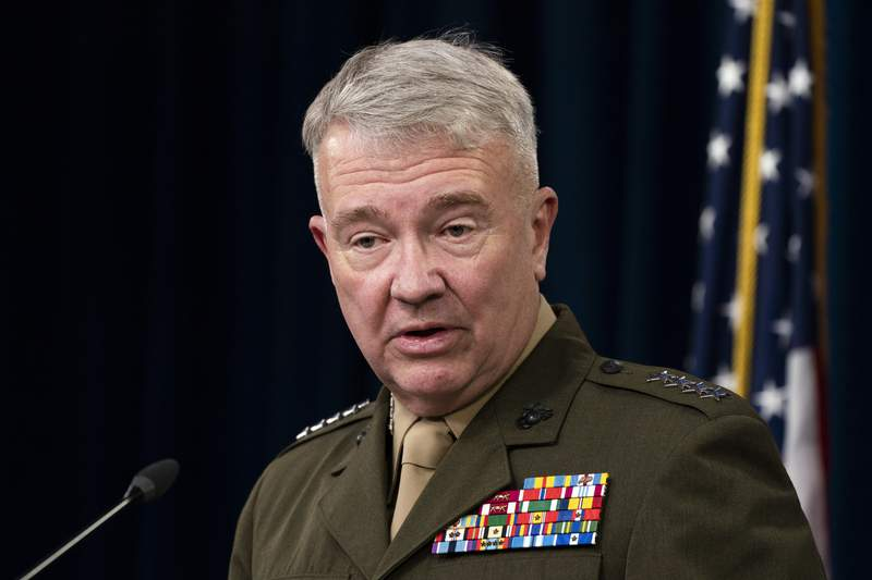 Gen. Kenneth McKenzie, Jr., commander of the United States Central Command, speaks during a briefing at the Pentagon in Washington, Thursday, April 22, 2021. (AP Photo/Manuel Balce Ceneta)