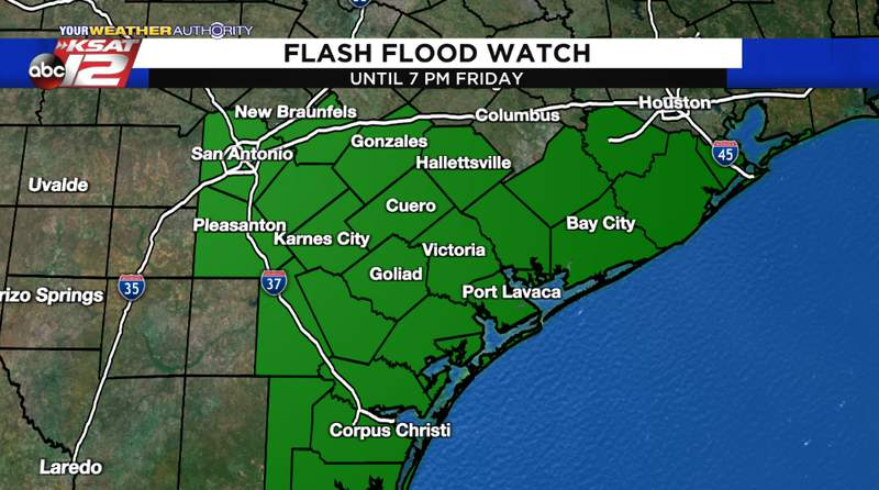 A Flash Flood Watch will be in place for the counties in green in the image above until Friday evening.