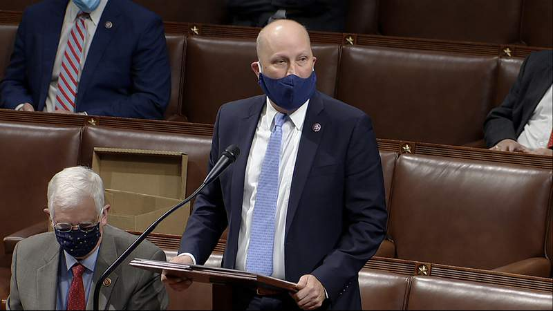 In this image from video, Rep. Chip Roy, R-Texas, speaks as the House reconvenes to debate the objection to confirm the Electoral College vote from Arizona, after protesters stormed into the U.S. Capitol on Wednesday, Jan. 6, 2021. (House Television via AP)