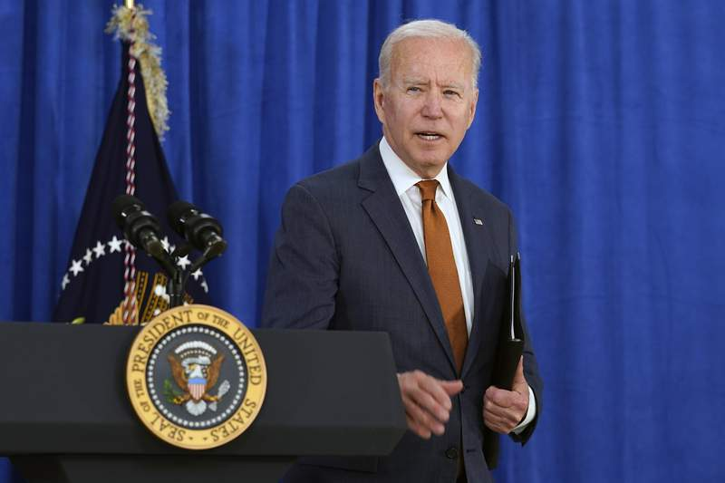 President Joe Biden walks away after talking about the May jobs report from the Rehoboth Beach Convention Center in Rehoboth Beach, Del., Friday, June 4, 2021. (AP Photo/Susan Walsh)