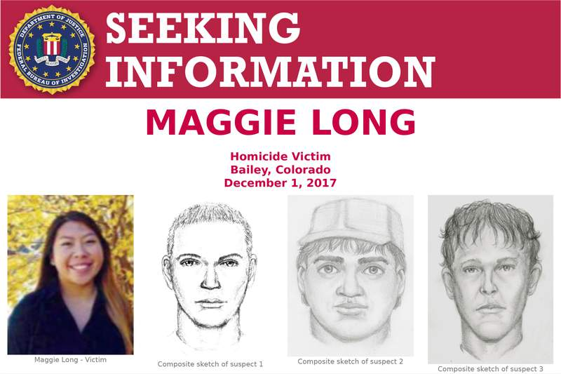 """This poster released by the Federal Bureau of Investigation shows Colorado homicide victim Maggie Long, left, and composite sketches of at least three men they were believed involved in her 2017 death. On Monday, May 17, 2021, the FBI said in a statement to KCNC-TV that it was probing the death of Long, an Asian-American teen, a """"hate crime matter."""" Her death was ruled a homicide. (FBI via AP)"""